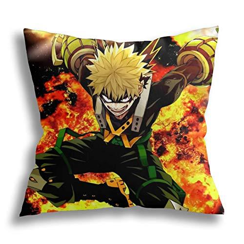 SHENGANG Bakugo Pilloase Meine H-ero Ac-ade-mia - Funda de cojín con diseño de anime para el hogar, habitación, sofá, cama, anime, decorativa, 18 x 18 pulgadas