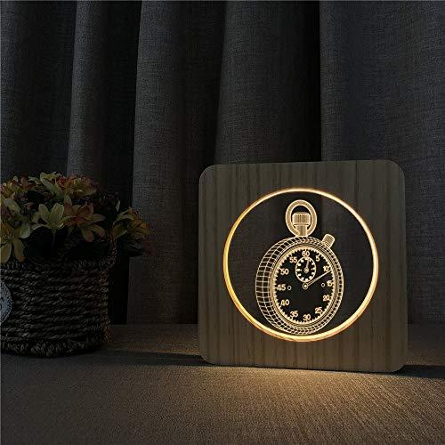 Solo 1 pieza reloj de bolsillo 3D LED acrílico madera luz de noche luz de mesa control de interruptor de luz grabado luz habitación para niños regalo de vacaciones