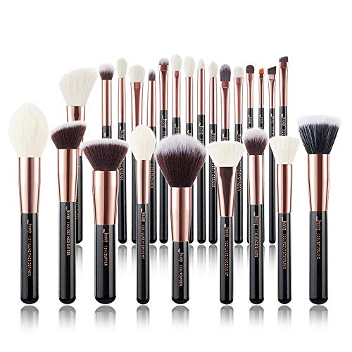 Jessup Brand 25pcs Professional Makeup Brush set Beauty Cosmetic Foundation Power Blushes eyelashes Lipstick Natural-Synthetic Hair Brushes set (Black/Rose Gold) New Jersey