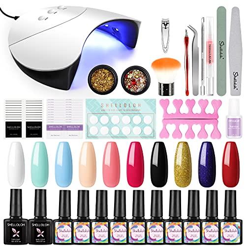 Shelloloh UV Gellack Nagelset 36W UV+LED Nagellampe Starterset Maniküre 10x Gel Lacken uv Set