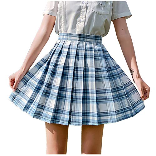 Falda plisada de tenis para mujer, cintura alta, elstica, para la escuela azul 36