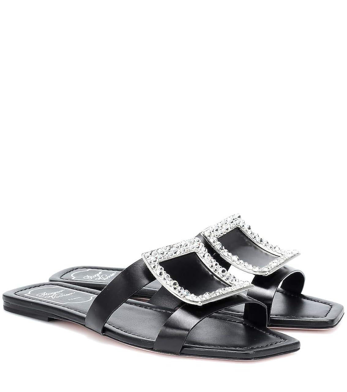入札必要としている一過性[ロジェ ヴィヴィエ] レディース シューズ 靴 サンダル ミュール Biki Viv` leather slides Nero (並行輸入品)