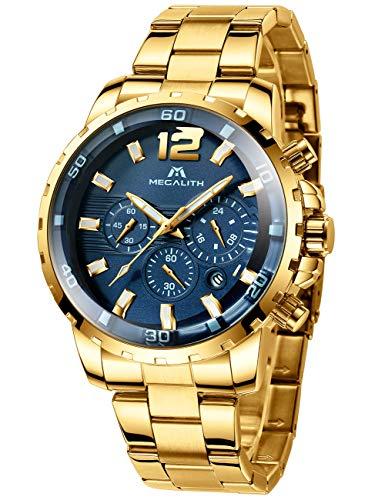 MEGALITH Reloj Hombre Dorados Acero Inoxidable Relojes Esfera Grande Azul Relojes de Pulsera Cronografo Analogico Impermeable Luminoso Fecha