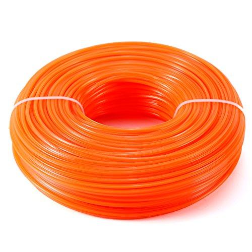 Mähfaden Trimmerfaden Trimmer Line Trimmer Schnur Ersatzfaden Nylonfaden 5-Kant,2.4MM, Orange-rot, 100 Meter