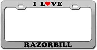 Product Express I Love Razorbill Birds Animals Chrome License Plate Frame Tag Border