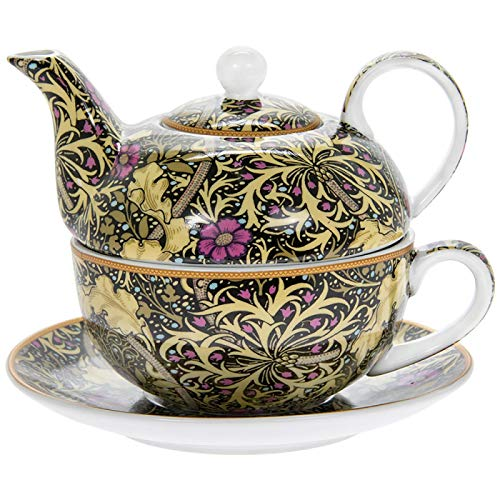 The Leonardo Collection William Morris Teetasse mit Untertasse und Teekanne aus feinem Porzellan