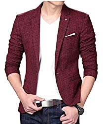 OneTwoTG Men Blazer Slim Fit Casual Single One Button Blazer Coat