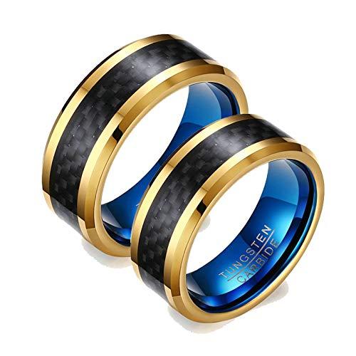 Aeici Anillo de Compromiso para Parejas Anillos Boda Tungsteno Anillo Oro Azul 8Mm Fibra de Carbono Oro Azul Mujer 17 + Hombre 27