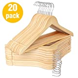 HKLIVE Natural Wooden Suit Hangers with Pants Bar Solid Wood Coat Hanger with 360 Degree Swivel Hook 20 Pack