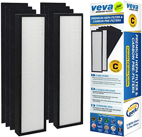 Premium True HEPA Replacement Filter 2 Pack Including 6 Carbon Pre Filters for AC5000 Series Germ Guardian Air Purifier, Filter C by Veva Advanced Filters