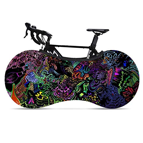 Owen Moll Bike Protection Cover WaterproofBike Wheel Cover Rain Sun UV Proof Bike Storage Cover Bag Protective Gear Garage Suitable for Tires of 24-26 Inches (Cool Color Illustrations)