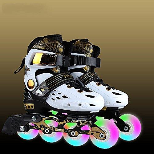 MLSS LI Blinkende Rollschuhe Inline-Slalom Skates Erwachsene Kinder Rollschuhe Einstellbar Rollschuhe,White-L