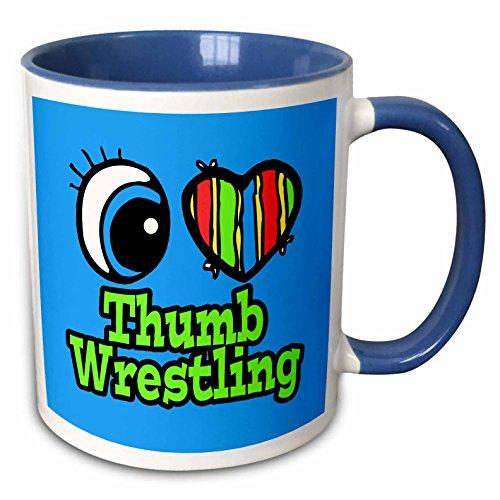 3dRose Bright Eye Herz I Love Daumen Wrestling-Two Ton Blau Becher, Keramik, Blau/Weiß, 10,16x 7,62x 9,52cm