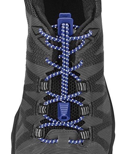 Nathan Reflektierende, elastische Schnürsenkel für Laufen und aktive Sportarten, NS1171, Surfen Sie im Internet Blau, Einheitsgröße