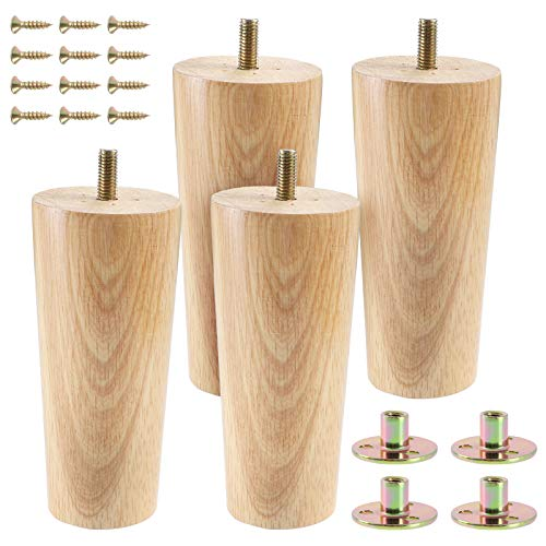 Juego de 4 patas de muebles de madera maciza de 13 cm, patas cónicas de repuesto con pernos M8 pretaladrados