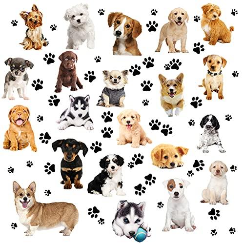 109 piezas pegatinas de pared para perros y patas realistas 3D pegatinas de perro pegatinas de vinilo para la pared de niños niño niña bebé dormitorio sala de estar baño hogar decoración DIY