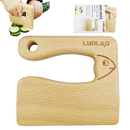 LUOLAO Wooden Kids Knife for Cooking and Safe Cutting Veggies Fruits Cute Fish Shape Kids Kitchen Tools 25 Years Old Applicable