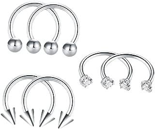 D DOLITY 6 Pairs Horseshoe Bar Ear Piercing Crystal CZ Gem Balls Stainless Steel Lip Nose Septum Ring