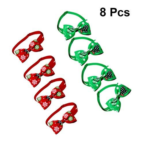 Balacoo Hund Fliege - Weihnachten Hundehalsbänder für kleine Hunde Welpen Katzen - verstellbare Fliegen Krawatten Haustierpflege Zubehör Urlaub Hundehalsbänder - Packung mit 8