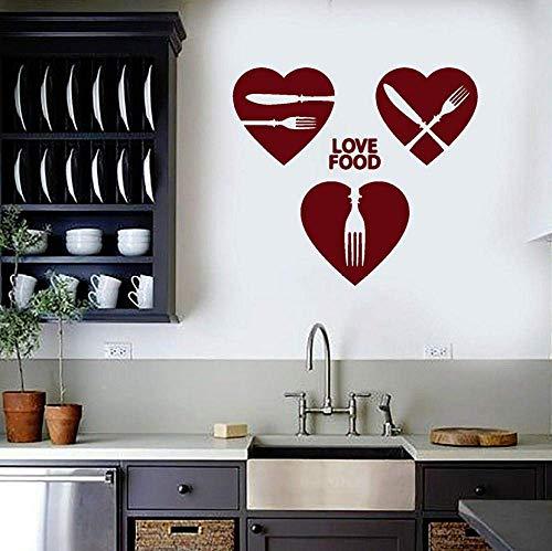 Muursticker Liefde Voedsel Muursticker Woorden Hart Chef Cook Keuken Voedsel Restaurant Cafe Interieur Decor Mes Vork Venster Vinyl Stickers 42x47cm
