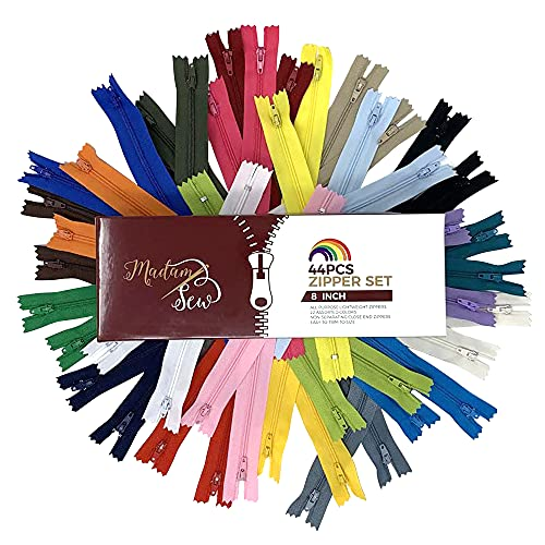 Madam Sew 44pcs 8 Inch Zippers for Sewing Garments – Bulk Zippers with Plastic Coil Teeth, Heavy Duty Metal Zipper Pulls and Nylon Tapes – Colorful Closed End, Non-Separating Zippers in 22 Colors