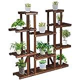 Safstar Wood Plant Stand, 6 Tier Flower Pot Holder High Low Shelves for Indoor Outdoor Garden Balcony Patio Yard, Vertical Corner Bonsai Display Rack