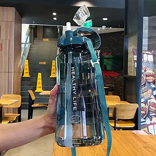 HLAA Botella De Agua De Gran Capacidad Botella De Agua Deportiva De Paja Portátil Adecuada para Camping Ciclismo Viajes Fitness Y Yoga (Blue,2L with Stickers)
