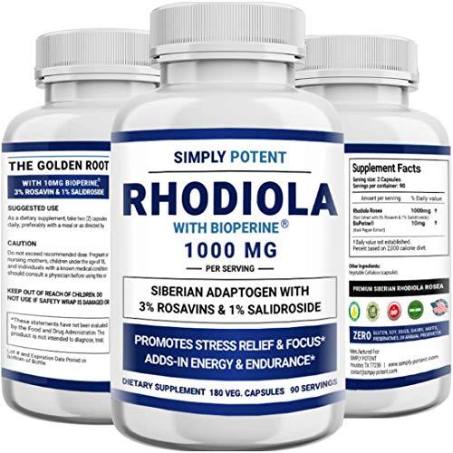 Siberian Rhodiola Rosea Capsules, Max Absorption Rhodiola 1000mg 180...
