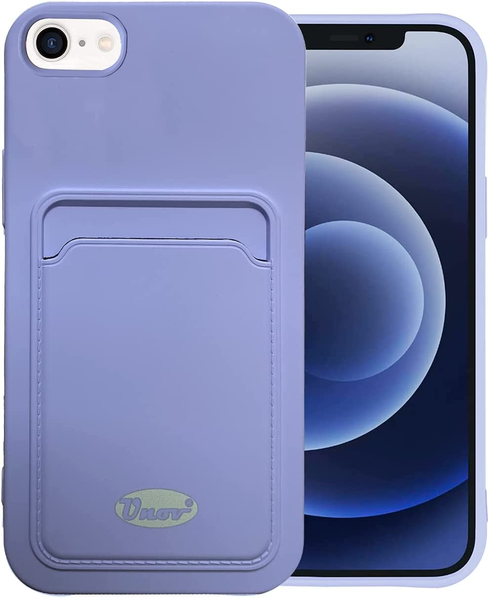 Unov Case Compatible with iPhone SE (2020) iPhone 8 iPhone 7 iPhone 6s iPhone 6 Soft Silicone Slim Protective Case with Card Holder Sleeve Wallet Card Pocket Cover Case (Mouve Purple)