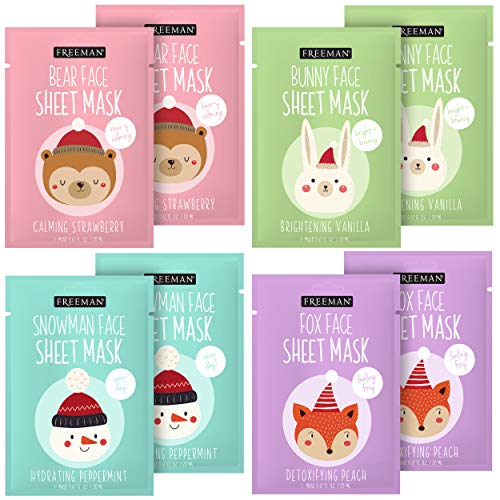 Freeman Animal Sheet Face Masks-For Skin Care, Holiday Character Mask, Set of 8