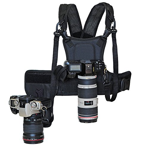 Nicama Dual Camera Strap Multi Carrier Chest Harness Vest with Mounting Hubs, Side Holster & Backup Safety Straps for Canon 6D 5D2 5D3 Nikon D800 D810 Sony A7S A7R A7S2 Sigma Olympus DSLR Cameras