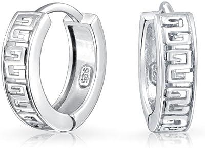 Orecchini a cerchio Huggie Kpop chiave greca per donna per uomo 925 sterling argento lucido cerniera Dia .65