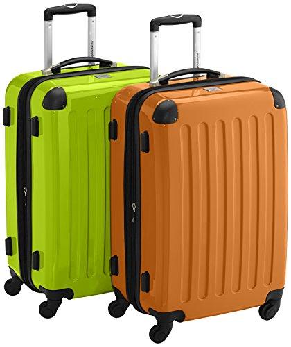 HAUPTSTADTKOFFER - Alex - 2er Koffer-Set Hartschale glänzend, 65 cm, 74 Liter, Apfelgrün-Orange