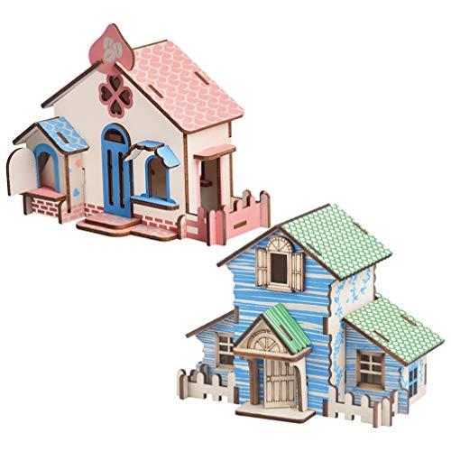 CLISPEED 2 Stücke Holz Puppenhaus 3D Mini DIY Haus Bausatz zum Basteln Miniatur Haus Modell Dollhouse Holzhaus Geburtstag Geschenk für Kinder Mädchen Handwerk Kit
