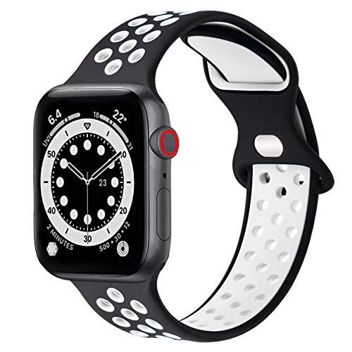 FENGLIN Correa de silicona impermeable compatible con Apple Watch de 44 mm, 42 mm, 40 mm, 38 mm, correa porosa y transpirable, compatible con Apple Watch SE/iWatch Serie 6/5/4/3/2/1.