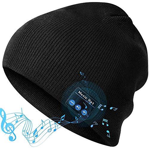 D&XQX Bluetooth Beanie Hat, V5.0 Bluetooth Inalámbrico Tapa De Punto con Auriculares Manos Libres Beanie Lavable Bluetooth Auriculares Gift para Hombres Mujeres