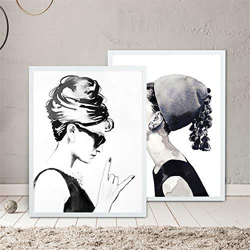 Rjjwai Cuadros Dekoration Audrey Hepburn Poster Und Drucke Auf Leinwand Malerei Schwarz Wand Kunstdruck Bilder Für Wohnzimmer 2 Stücke Schlafzimmer 40x60cm