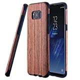 Galaxy S8 Case, LONTECT [Slim Matte] [Shock Absorbing] Flex TPU Non Slip Wood Tactile Extra Grip Rubber Bumper Case Cover for Samsung Galaxy S8 - Rosewood