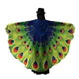 Battnot Pfau Schmetterling Kostüm Damen Mädchen Schmetterlingsflügel Schale Frauen Karneval Party Cosplay Kleidung 197X125CM Weicher Stoff Fee Nymphe Pixie Kostümzubehör Womens Ladies Butterfly Wings