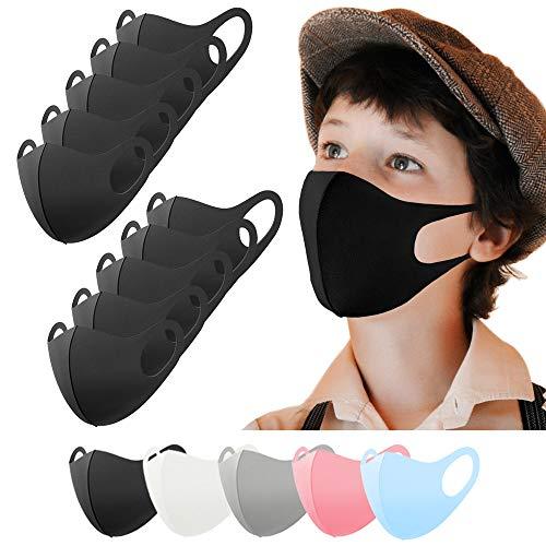Kinder Mundschutz Maske waschbar 10 Stück, Mund und Nasenschutz Kinder schwarz, Behelfsmaske, Alltagsmaske, Gesichtsmaske, Stoffmaske, Community Maske
