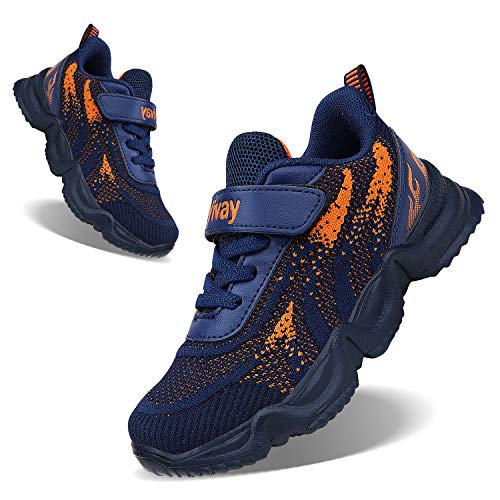 FEITAI Kids Running Tennis Shoes Boys Lightweight Shoes Casual Girls Walking Sneakers,Blue&Orange 3.5 Big Kid