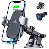 andobil Wireless Car Charger Mount [with QC 3.0 Adapter] iPhone 12 Pro Max/Galaxy S21, Auto Clamping Car Phone Holder Mount Charger Compatible for iPhone 12/11/X Series, Samsung S21/20/10,Note20/10