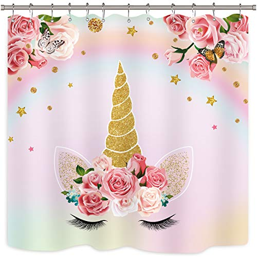 Unicorn Shower Curtain Kids Girls Pink Animals Cartoon Floral Colorful Oil Painting Decor Fabric Set Polyester Waterproof 72x72 Inch 12-Pack Plastic Hooks