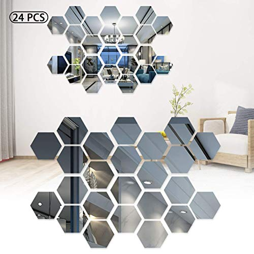 Iwinna Mirror Wall Stickers, Geometric 3D Hexagon Acrylic Mirror Sheet Art DIY Home Decorative Self Adhesive Mirror Tiles Sticker for Home Living Room Bedroom Sofa Wall Decal Decor (24)