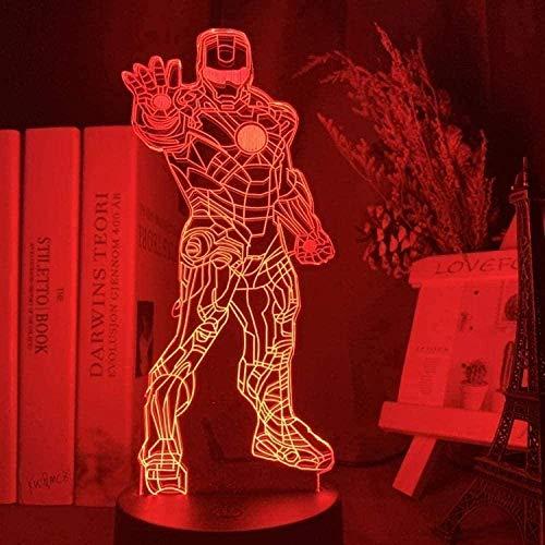 Baby Spielzeug Lámpara 3D Iron Man Armadura Figura Led Luz de Noche para Niños Decoración de Dormitorio Superhéroe Luz de Noche Fresca para Niño-Mw16_16 Colores con Control Remoto