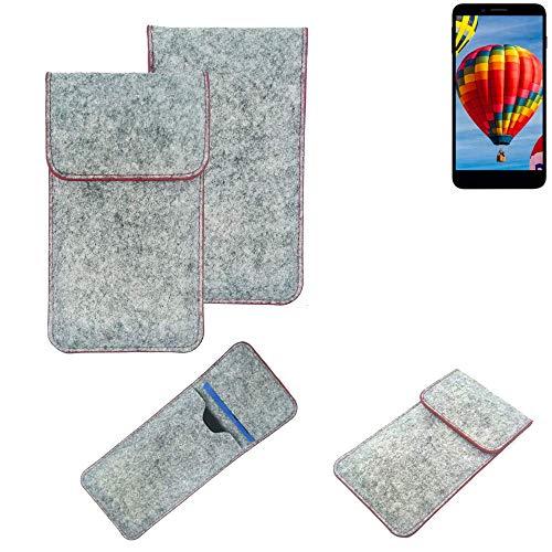 K-S-Trade® Handy Schutz Hülle Für Vestel V3 5030 Schutzhülle Handyhülle Filztasche Pouch Tasche Hülle Sleeve Filzhülle Hellgrau Roter Rand
