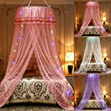 JETH Mosquito Net Bed Canopy, for Single to King Size, Finest Holes: Mesh, Curtain Netting, No Chemicals Added, Princess Bed Cover Curtain Bedding Dome Lace LED Light for Girls Boys Adults (Pink)