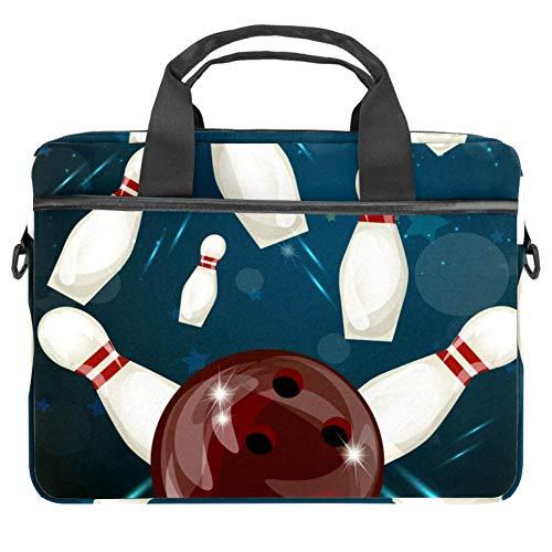 LORVIES Bowling Ball Crashing Laptop Tasche Schultertasche Messenger Bag Business Sleeve Tragegriff Tasche für 14 bis 15,4 Zoll Laptop Notebook