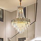 Moderno lampadario di cristallo a goccia di pioggia, 12 luci, finitura cromata stile impero classico K9 lampadario di cristallo duplex lobby Halway oro lampada a sospensione a incasso