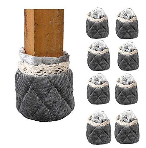 Mogoko 8 x Stuhlbeinsocke Möbel Socken Wollsocken Hocker Fessel Tabellen Cotton Caps Anti-Rutsch Fußboden Schutz Stuhl Bein Bodenschutzmatten Floor Protector Verdickt Fußboden Schutz (Grau)